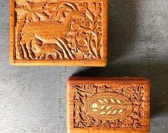 vintage carved teakwood box - wood jewelry trinket keepsake box