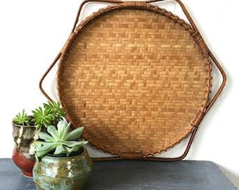 bamboo hexagon wall basket - woven rattan tray - shallow flat basket - boho decor