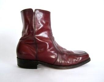 vintage 1970s rust brown leather BEATLE boots moto boho U S A ankle zip up chelsea FLORSHEIM mens 9 E wide rock n roll biker