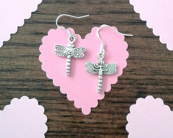 Tibetan Silver Dragonfly Charms and Sterling Silver Ear Wire Earrings