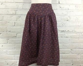 """1970s-80s Plum Calico Skirt, 29"""" waist"""