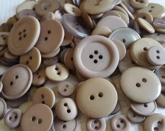 Light Brown Buttons - Assorted Colors Tan Beige Brown - Sewing Bulk Button - 100 Buttons - Mocha