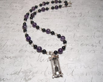 Hourglass - Amethyst Onyx Clear Quartz Crystal Gemstone and Seed Bead Hourglass Pendant Necklace