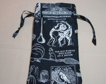 Dancing Toads Witches Familiars - Lined Drawstring Tarot Card Deck Pouch with Spider Web Lining