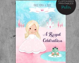 Printable custom Princess Birthday Poster, Watercolor Pink Princess Birthday Party Poster, wall art, centerpiece, fairy tale, castle