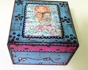 Mermaid Sleeping -  Original Mixed Media Jewelry Box Art by FLOR LARIOS