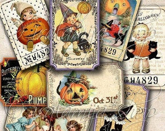 SALE HALLOWEEN TICKETS Collage Digital Images -printable download file-