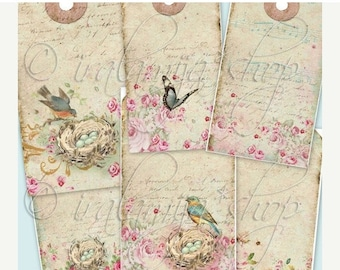 SALE ROMANCE TAGS collage Digital Images -printable download file- Digital Collage Sheet Vintage Paper Scrapbook Jewelry Holders
