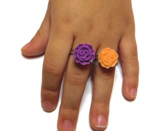 Kids Adjustable Flower Rings