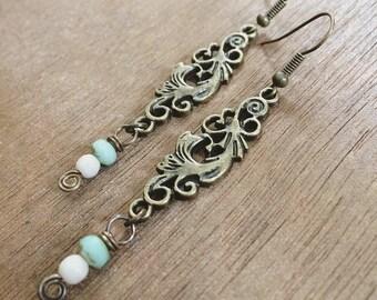 SWIRL antiqued brass wirework spiral dangle earrings