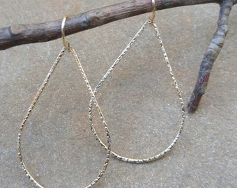 Hammered Gold Teardrop Hoop Earrings