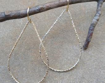 Hammered Gold Teardrop Hoop Earrings