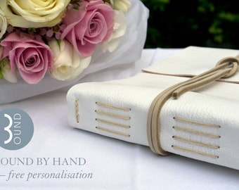 Classic Wedding Guest Book: White and Natural with Mohawk Superfine pages for simple style brides and weddings. Made in UK ships worldwide
