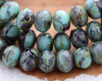 TURQUOISE GRAPES .. 10 Premium Picasso Czech Glass Rondelle Beads 5x7mm (B10-10)