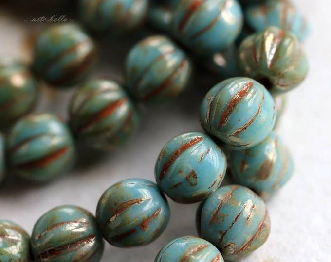 SKY MELONS .. 25 Premium Picasso Czech Melon Beads 6mm (5777-st)