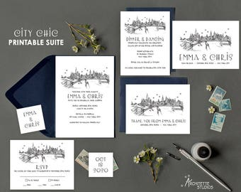 City Chic (7) Piece Printable Digital Download City Skyline Wedding Suite - Save the Date - Invitation - RSVP - Reception - Thank You Card