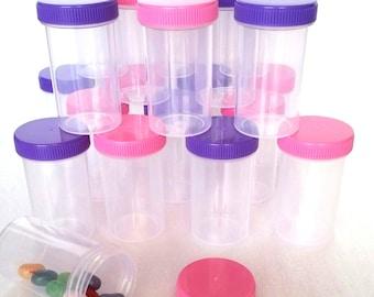 20 Empty Party JARS Plastic Container Pink & Purple Caps Doc McStuffins Party DecoJars #4314
