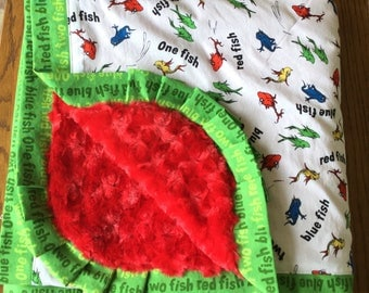 NEW....One Fish, Two Fish, Red Fish, Blue Fish Dr. Seuss Minky Blanket Lap Sized Blanket....personalization available