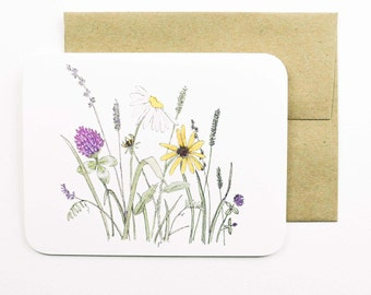 Field flowers card with envelope | Flowers | Wild flowers | Clover | Black eyed susan's | Hay field | Greeting card | Thank you card