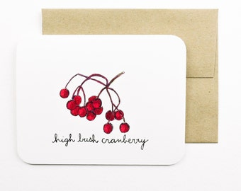 High bush cranberries card with envelope | Cranberry | Forage | Cranberry jelly | Red cranberry | Fall food | Greeting card