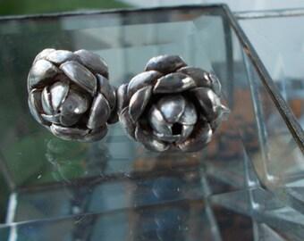 Vintage Sterling Silver Blooming Flower Screwback Earrings / Mexico Silver Rose Shaped Earrings