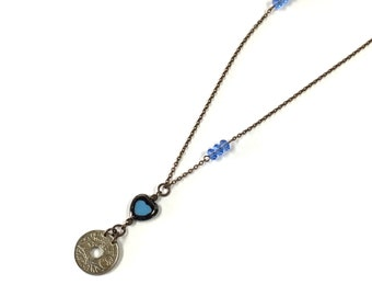 French coin on long chain layering necklace Blue Heart