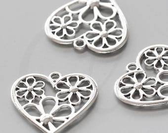 10 Pieces Oxidized Silver Tone Base Metal Charms-Heart 29x28mm (1873X-D-115A)
