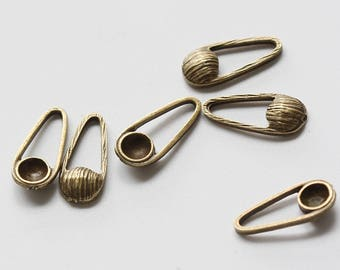 4 Pieces Antique Brass Tone Base Metal Charms-Oval With Setting 17x7.5mm (1781C-V-138)