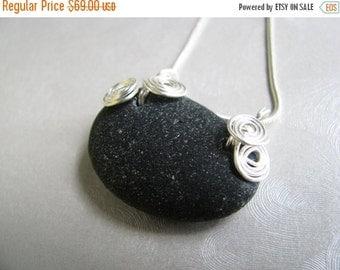 Valentine Sea Glass Sale Rare Black Seaglass Necklace - Beach Glass Necklace - Black Sea Glass