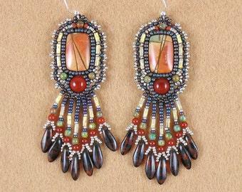 Earrings, bead embroidery, beaded, Red Creek Jasper, carnelian, beaded earrings