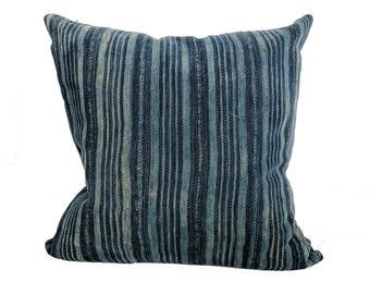 African Indigo Farmhouse Stripe Pillow | BAM 18x18