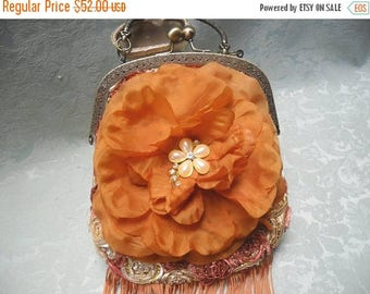 30% OFF Spring Cleaning PURSE Handbag Handmade Romantic Whimsical Boho Weddings Brides Mothers Day Glamgirl - Terra Cotta