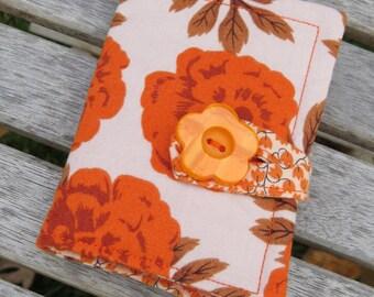 Tea Wallet , Tea Bag Holder, Cute Accessory, Purse Accessory, Orange Floral