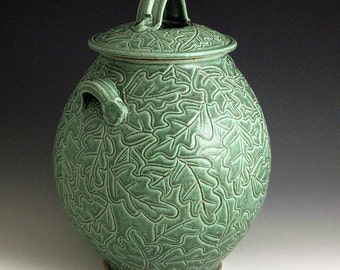 Carved Oak Leaf Green Jar SHIPPING INCLUDED
