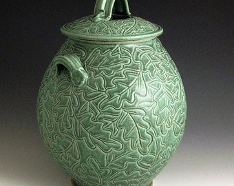 Carved Oak Leaf Green Jar
