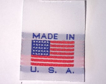 Made in the USA Large Flag  Woven Garment Apparel Labels (Package of 250)