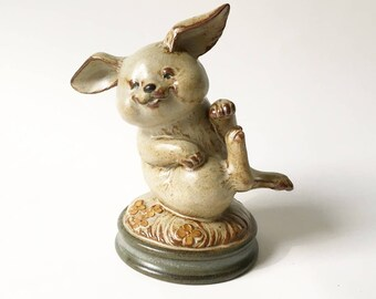 Bunny figurine Rabbit Pottery UCTCI Japan Happy Rabbit stoneware Vintage Rabbit