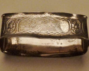 STERLING NAPKIN RING Alfred holder engraved antique  handcrafted foliate design app 2x1x1 in