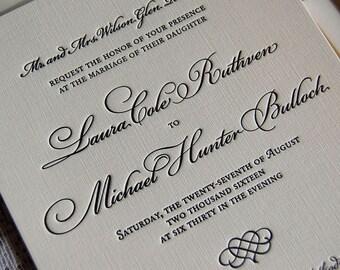 Letterpress Wedding Invitation Sample, Wedding Invitation, Traditional Wedding Invitation, Invitation Suite, Custom Wedding Invitations