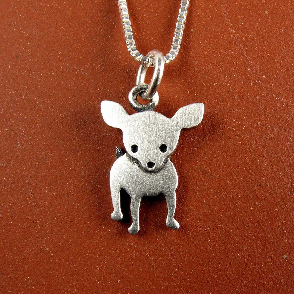 tiny chihuahua necklace pendant by stickmanjewelry on etsy