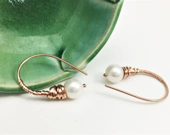 Rose Gold Filled and Freshwater Pearl Wire WrappedThreader Earrings (E444RG) - handcrafted wire jewelry by cristysjewelry on etsy