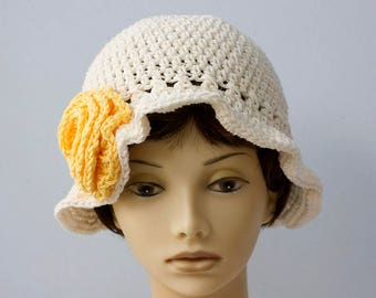 Cotton Sun Hat, Off White Hat, Yellow Flower Cloche,  Brimmed Hat, Crochet  Hat, Summer Hat, Vegan Hat