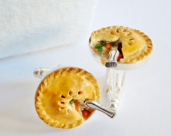 Homemade Chicken Pot Pie Cufflinks - Handmade Miniature Food Art Jewelry Collectable - Schickie Mickie Original