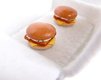 Fish Burger Cufflinks - Fastfood Cufflinks - Miniature Food Art Jewelry Collectable - Schickie Mickie Original 100% Handmade