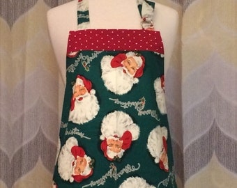 Merry Christmas Santa Apron - Priority OR Free Shipping -  Handmade Apron, Sewn and Ready to Ship!