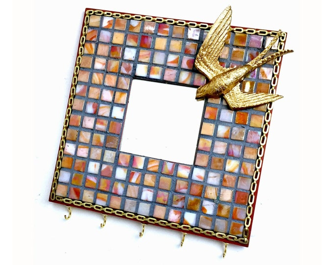 Mosaic Bird Mirror with Hooks, Mosaic Mirror Hooks, Coral Apricot Glass Tile Mirror, Mosaic Butterfly Mirror, Gold Bird Mirror Wall Hooks