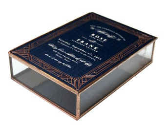 Glass Wedding Invitation Keepsake Box With Copper Accents In Clear Antique Glass