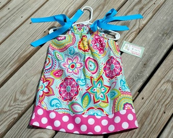Girls Spring Dress- Pillowcase Dress - Aqua and Pink Dress -  Toddler Girl Dress  - Beach Dress -  Sundress - Groovy Gurlz