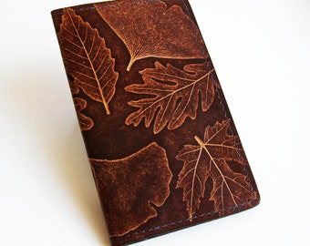 Leather Checkbook Cover with Leaf Design