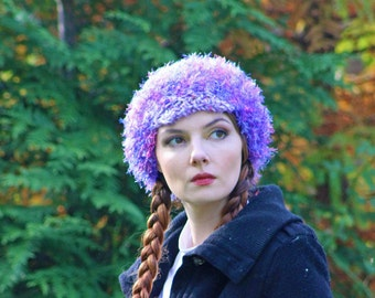 Purple and Pink Fuzzy Slouch Tam Hat Billed Newsboy Beanie Girls Winter Hat Great Gift for girl